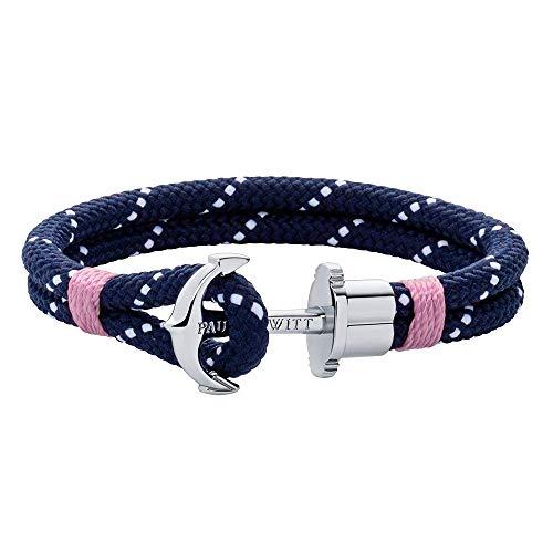 PAUL HEWITT Anker Armband PHREP - Segeltau Armband in Marineblau Weiß Rosa, Armband mit Anker Schmuck aus Edelstahl (Silber) in Größe L
