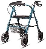 WSVULLD Walker para los Ancianos con los reposabrazos, la Ayuda de la Movilidad Plegable con el Asiento, el Caminante de Cuatro pies para los Ancianos con discapacidades