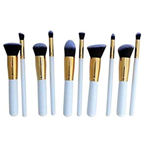 Professionnel Beauty Cosmetics Ensemble de 10 pinceaux de maquillage for maquillage Blending Blush Eyeliner Poudre Brush Baeuty Tool Concealer Brush (Couleur: Or) Poignées (Color : Gold)