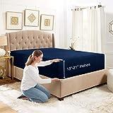 Empyrean Bedding Deep Pocket Fitted Sheet – Hotel Luxury Silky Soft Double Brushed Microfiber Sheet – Hypoallergenic Wrinkle Free Cooling Deep Pocket Bed Sheet, Navy Blue - King