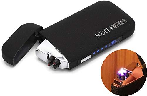 Scott & Webber – Mechero USB con doble arco de luz negro mate, encendedor eléctrico de metal, plástico, encendedor de tormenta, recargable, indicador de batería y cable USB # Smart # Easy # Elegant