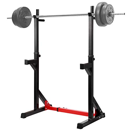 Lanmu Merax Barbell Rack 550LBS Max Load Adjustable Squat Stand Dipping Station Gym Weight Bench Press Stand