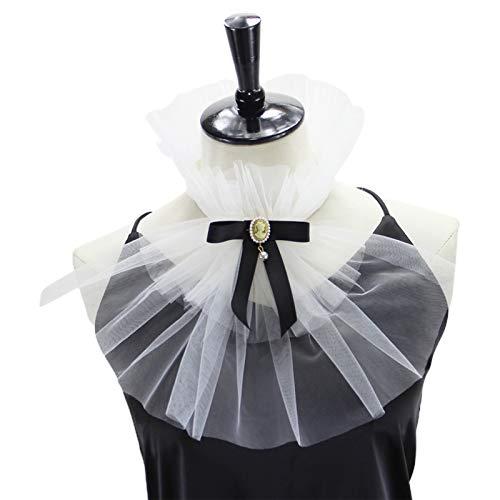 Collar victoriano con volantes de malla jabot diamante Bowknot desmontable collar Cosplay corbata