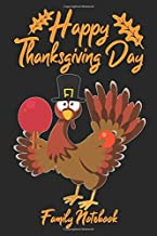 Happy Thanksgiving Day Family Notebook: Turkey Table Tennis or Ping Pong Lovers Lined Journal Paper Wide Ruled Composition Notebook For School Teacher ... Gift In Thanksgiving From Family and Friends