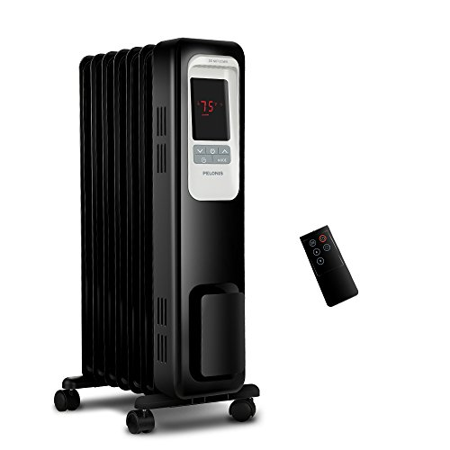 Electric Radiator Heater, 1500W Portable Oil Filled Radiator Space Heater with Digital Thermostat, 24-Hour programmable Timer, Remote Control, Safe Heater for Full Room, by Pelonis