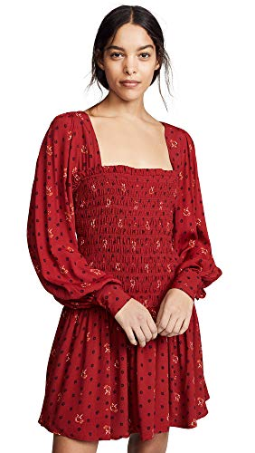 Free People Women's Two Faces Mini Dress, Ruby, Red, Print, Small