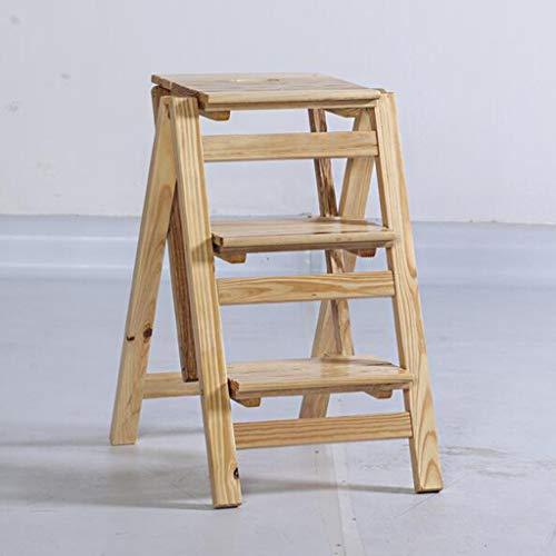 Hclshops Taburete Plegable Escalera Plegable, Estante de Flor de Madera Maciza Stand-Household Wooden Ladder Multifunción Interior Ascend Ladder (Color : Wood Color, Size : 3 Steps)