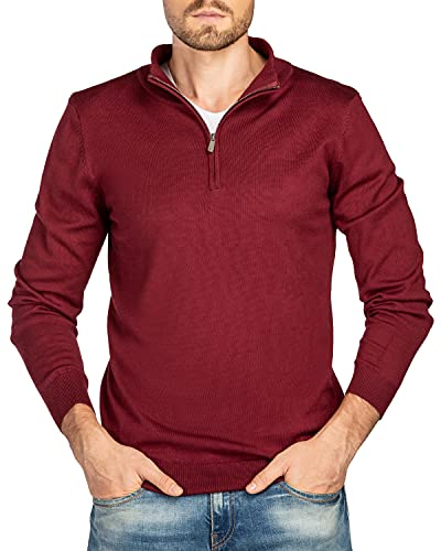 We1Fit Men's Quarter Zip Pullover Sweater Casual Slim Fit Long Sleeve Mock Neck Polo Sweaters Wine Red