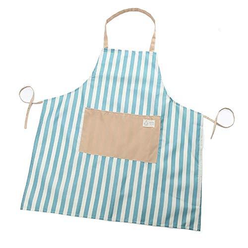 CyFe Delantal de Cocina con patrón de Rayas, Delantal para Adultos con un Bolsillo Frontal Delantal para Mujer Chef Cocina, cocinar, Parrilla y Hornear, Azul (74 * 68cm)