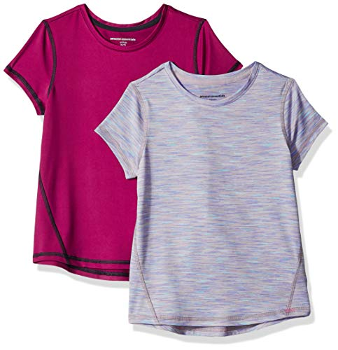 Amazon Essentials Girls' 2-Pack Short-Sleeve Active T-Shirt, Fuchsia/Purple Spacedye, S (6-7)