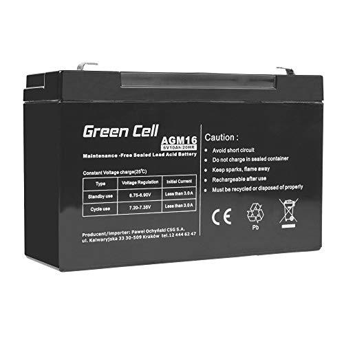 Green Cell Recambio de Batería Gel AGM 6V 10Ah Rechargeable Pila Sellada de Plomo ácido batería sin Mantenimiento Batería de Reemplazo para Juguetes electricos Hogar Alarma Equipos médicos