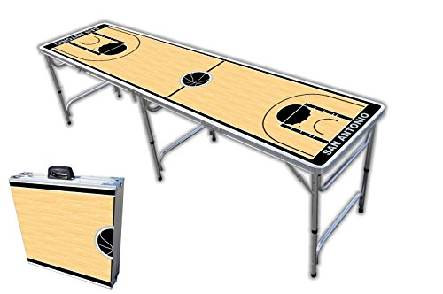 Review Of 8-Foot Professional Beer Pong Table - San Antonio Basketball Court Graphic