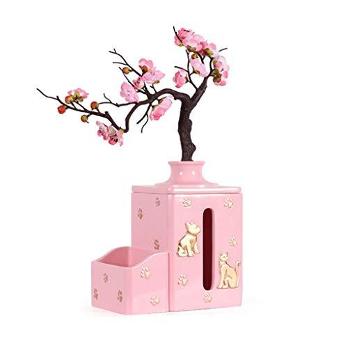 NYKK Caja Pañuelos Caja de pañuelos Creativa Europea Sala de Estar Decoración del hogar Bandeja de Almacenamiento de Control Remoto Decoración Dispensador Pañuelos (Color : Pink, Size : B)