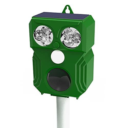 Repellente Gatti, Repellente Ultrasuoni Energia Solare IP66 Impermeabile a Frequenza Regolabile per Allontanare Animali 5 modalità Regolabile Repeller Animali Ultrasound Repellente per Animali (Verde)