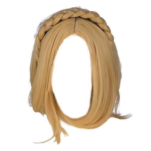 Princess Zelda Wig Short Hair Braids Headband Blond Hairstyle Breath...