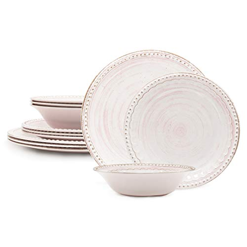 Zak Designs French Country House Melamine Dinnerware 12 Piece Set Includes Dinner, Salad Plates and Individual Bowls Break-resistant Dishwasher Safe (Lavage Pink)