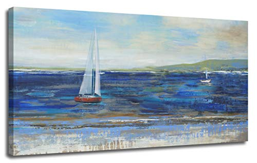"""Ardemy Canvas Wall Art Blue Abstract Seascape Painting Large Size One Panel Picture Prints, Modern Landscape Sail Boat in Ocean Artwork Framed for Living Room Bedroom Home Office Decor 40""""x20"""""""