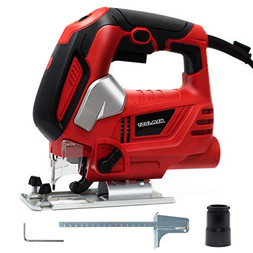 Toolman Electric Jig Saw 6.5A motor up to 3000 SPM cutting power Top Handle lock on button 6 variable speed For Heavy Duty versatile use DB6204