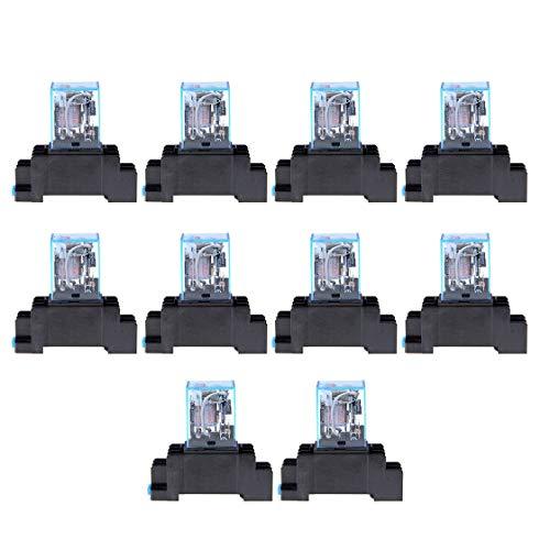 AC 220V 10 UNIDS Bobina de Relé de Potencia LY2NJ DPDT 8 Pin PTF08A JQX-13F Base de Zócalo Micro Micro Electromagnético Módulo Electromagnético