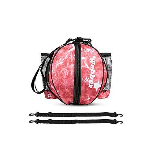 GYZLZZB Bolsa de baloncesto redonda portátil, bolsa de almacenamiento de un solo hombro de voleibol de fútbol de Oxford, bolso de deportes de entrenamiento de diseño de correa desmontable, adecuado pa
