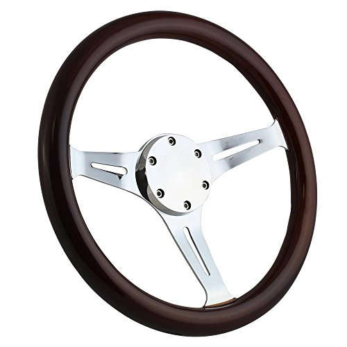 350mm Chrome Marine Boat Steering Wheel with Dark Mahagony Wood Grip and Horn Cover Plate