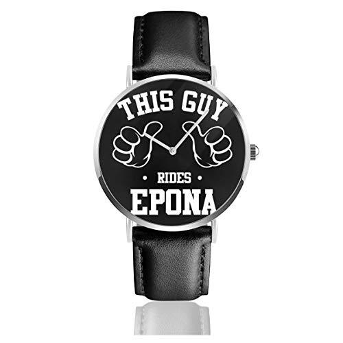 Unisex Business Casual This Guy Rides Epona Legend of Zelda Armbanduhr Quarz Leder mit schwarzem Lederband für Männer und Frauen Young Collection Geschenk