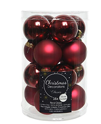 Christbaumschmuck Weihnachtskugeln Glas 16 Stück ochsenblut Ø35mm