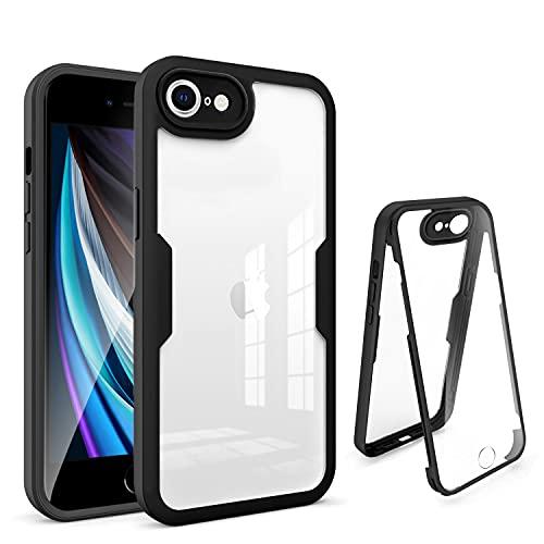 AURSTORE Coque Compatible avec iPhone SE 2020,Coque iPhone 8,Coque iPhone 7, Protection intégrale Avant + Arrière en Rigide Transparente, Housse Etui Tactile 360 degré - Case Antichoc (Noir)