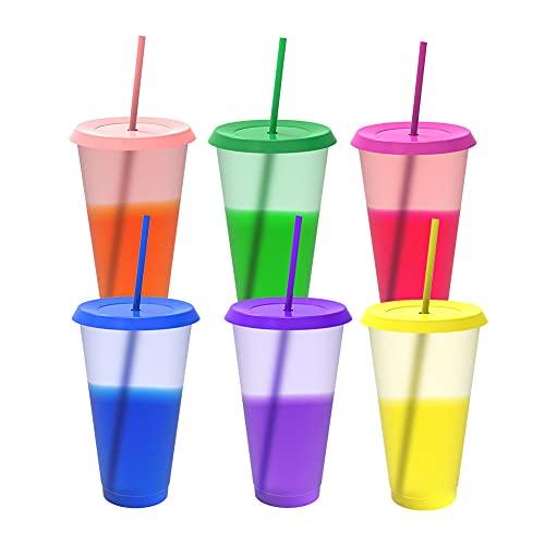 Copas cambiantes de color, 6 vasos reutilizables a granel con tapas, vaso mágico de colores, tazas de café para hielo, taza fría de plástico para niños y adultos, 24 onzas
