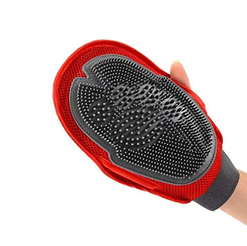 Pet Grooming Glove Tool,Winnes 2 in 1 Pet Deshedding Brush Glove,Pet Hair Remover Mitt Pet Massage Tool with Dual Side for Dogs & Cats with Long & Short Hair - Right & Left Handed Fit