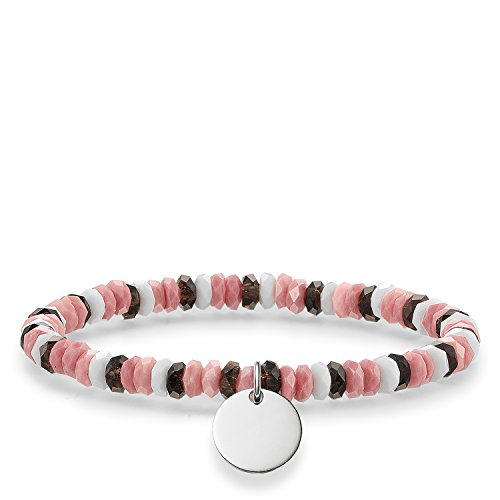 Thomas Sabo Damen-Armband Love Bridge 925 Sterling Silber grau pink weiß Länge 15.5 cm LBA0026-833-7-L15,5
