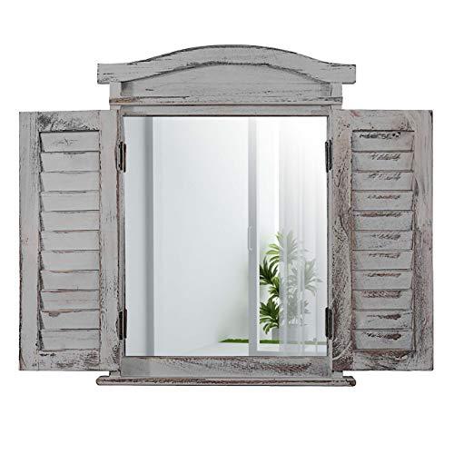 Mendler Wandspiegel Spiegelfenster mit Fensterläden 53x42x5cm - grau Shabby