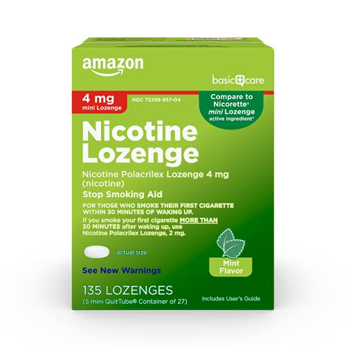 Amazon Basic Care Mini Nicotine Polacrilex Lozenge, 4 mg nicotine, Stop Smoking Aid, White, Mint, 135 Count