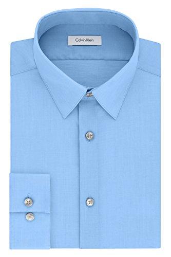 "Calvin Klein Men's Dress Shirt Slim Fit Non Iron Herringbone, mist, 16"" Neck 34""-35"" Sleeve (Large)"