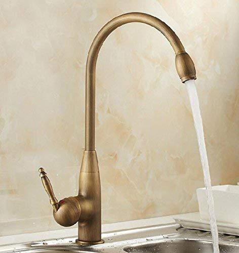 tube TougMoo - Grifo para Lavabo, baño, latón Antiguo Grifo Monomando Grifos de Cocina Mezclador de lavamanos Recipiente Grifos de Agua, Bronce