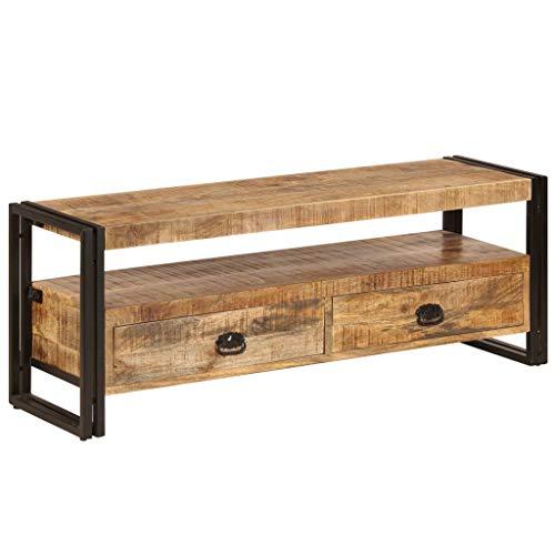 Susany Mueble para TV con 2 Cajones de Almacenamiento Mueble de Televisión Mesa para TV Madera Maciza de Mango 120x35x45 cm