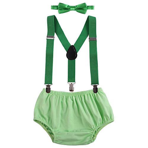 Baby Boys Cake Smash Outfit First Birthday Bloomers Bowtie Adjustable Y Back Suspenders Clothes set Turquoise One Size