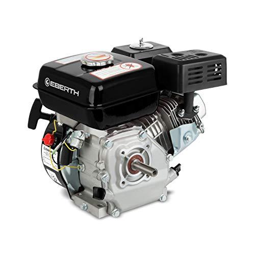 EBERTH 6,5 PS 4,8 kW Benzinmotor Standmotor Kartmotor Antriebsmotor Austauschmotor (20 mm Ø Welle, Ölmangelsicherung, 1 Zylinder Benzinmotor, 4-Takt, luftgekühlt, Seilzugstart) schwarz