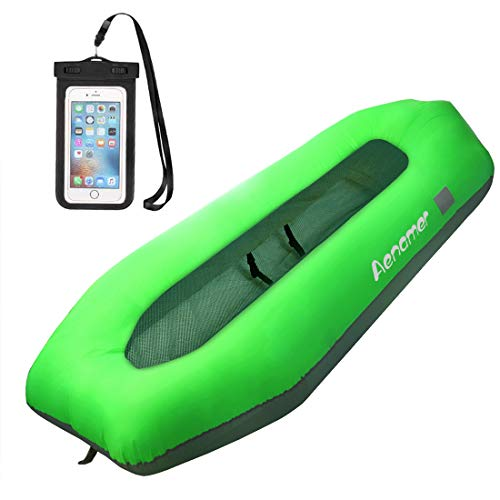 Aenamer Sofá Hinchable para Exterior, Impermeable Inflable Sofa con Portátil Bolsa y Teléfono Bolsa para Interior Playa Piscina Camping Fiesta Parque Picnic (Verde)