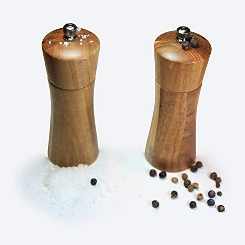 Brettgold Salz- & Pfeffermühlen Set aus Akazienholz mit Keramikmahlwerk in verschiedenen Größen - Gewürzmühlen (M)