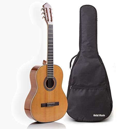 Classical Guitar with Soft Nylon Strings by Hola! Music, Full Size 39 Inch Model HG-39GLS, Natural Gloss Finish - FREE Padded Gig Bag Included