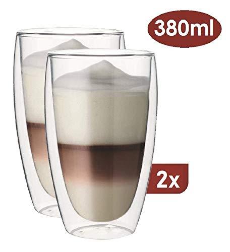 Maxxo Doppelwandige Gläser Laté Macchiato Set 2X 380 ml Kaffee Thermogläser mit Schwebe-Effekt beständige Kaffeegläser