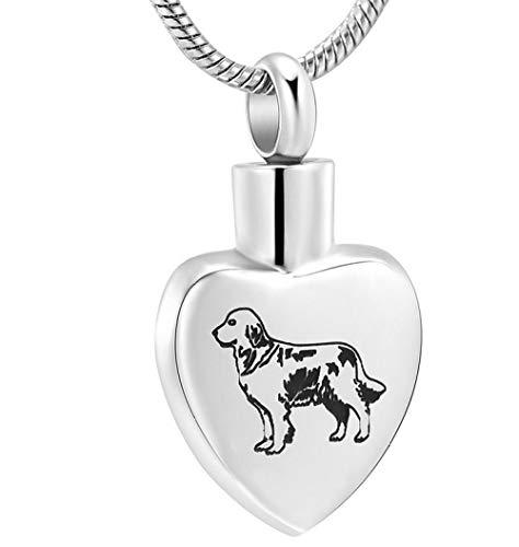 N / D Collar De Cremación Collar de Recuerdo de cremación de Acero Inoxidable en Forma de corazón de Perro Mascota para Caja de urna de Cenizas Colgante joyería Conmemorativa Poco Profunda
