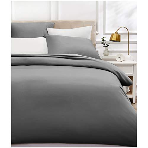 Amazon Basics - Bettwäsche-Set, Fadendichte 400, Baumwollsatin, 200 x 200 cm und zwei Kissenbezügen, 80 x 80 cm, Dunkelgrau