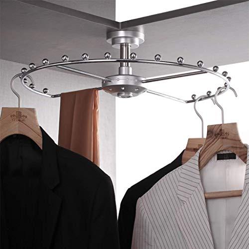 BBZZ Perchero de armario con rotación de 360 °, accesorios para guardarropa, perchero de almacenamiento, perchero de armario, esquinero para colgar ropa (color: plata, tamaño: 520 mm)