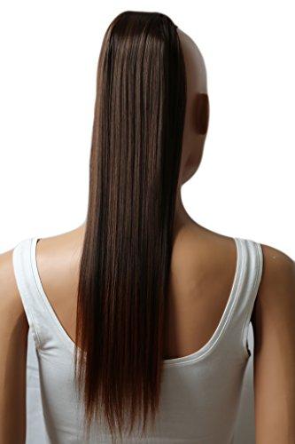 PRETTYSHOP 60cm Haarteil Zopf Pferdeschwanz Haarverlängerung Glatt Braun Mix HC19