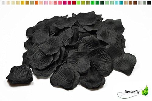 Creativery 100 Stück Rosenblüten (schwarz 030) // Rosenblätter Blütenblätter Streudeko Blüten Blätter Tischdecko Hochzeit Party