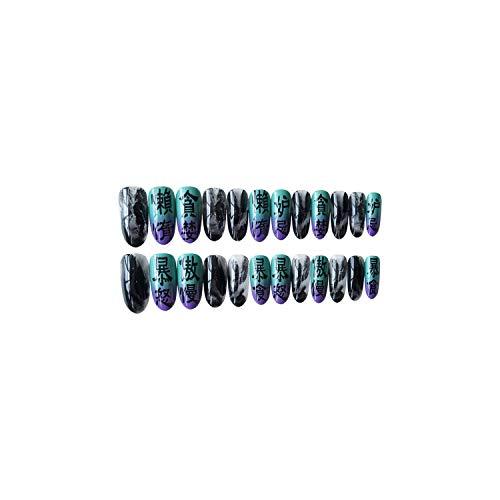 24 pcs/ensemble Nouveau Marbre Motif Saut Couleur Faux presse sur les ongles Mode Personnalité Femmes Manucure Outil presse sur les ongles halloween-as-