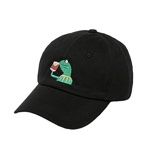 AKDSteel XY Fancy Unisex modisch Baumwollstickerei Frosch Cartoon Muster einfarbig Baseball Cap Snapback Hut Schwarz