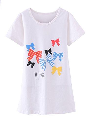 ABClothing Mädchen Nachthemden & Nachthemden Baumwolle Nachtwäsche für Kleinkind 3-4 Jahre weißer Bogen
